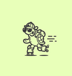 turtle on roller skates vector image