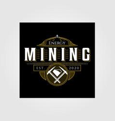 Vintage mining logo emblem badge retro design vector