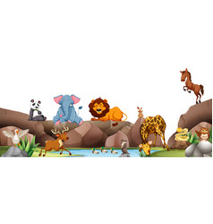 Wild animals by the pond vector