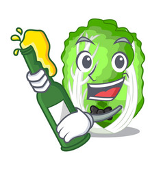 With beer chinese cabbage vegetable isolated on vector