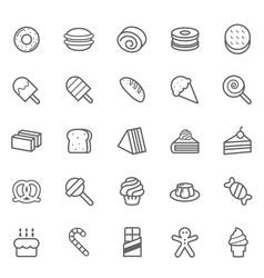 Set of Outline stroke Dessert and Sweet icon vector image vector image