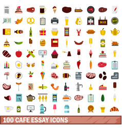100 cafe essay icons set flat style vector image