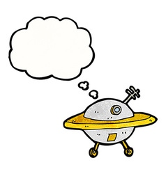 cartoon flying saucer with thought bubble vector image