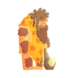 caveman with a cudgel stone age character vector image vector image