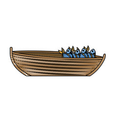colored pencil silhouette of wooden fishing boat vector image