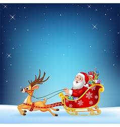 Cute Santa clause in his Christmas sled vector image vector image
