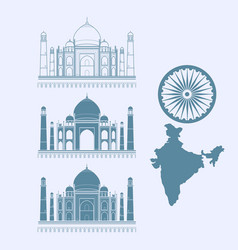 isolated icon taj mahal and map of india vector image