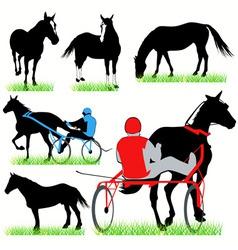 jockeys and horses set vector image