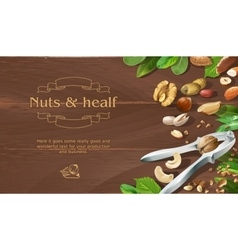 Mix of natural raw nuts on wooden background vector image vector image