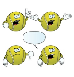 Angry tennis ball set vector image vector image