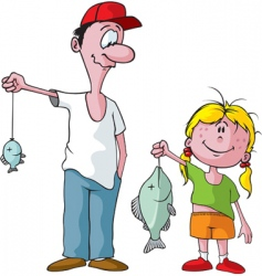 dad and daughter fishing trip vector image vector image