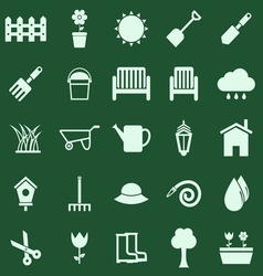 Gardening color icons on green background vector image