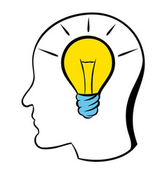head with light bulb icon icon cartoon vector image