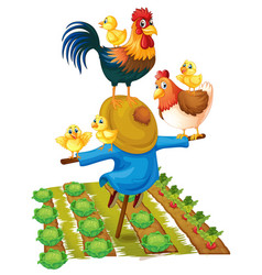 scarecrow and chickens in vegetable garden vector image vector image