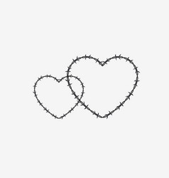 two shapes of heart silhouette of barbed wire vector image vector image