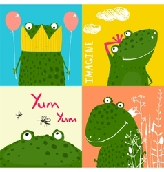 Colorful fun cartoon frogs animals greeting cards vector