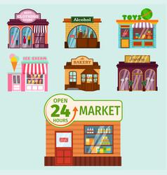 flat design restaurant shops facade vector image vector image