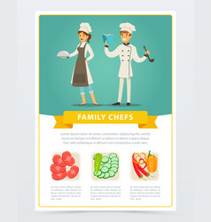 flat poster with family chefs of vegetarian vector image vector image