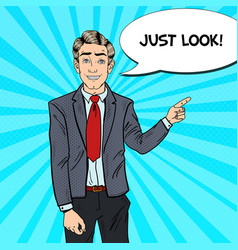 pop art businessman pointing finger on copy space vector image vector image