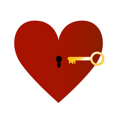 red heart with golden key vector image vector image