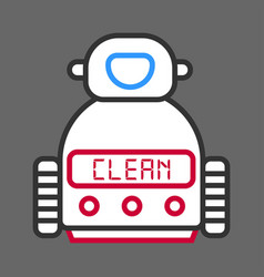 robot machine for cleaning isolated on grey vector image vector image