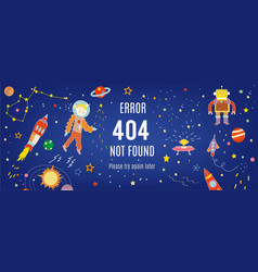 404 error banner with cosmos and spaceships vector