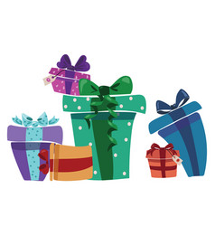 a bunch christmas gifts gift box with ribbon vector image