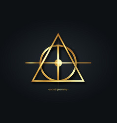 Alchemical cross sacred geometry gold logo icon vector