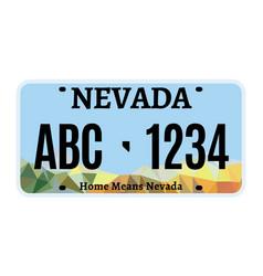 American nevada car license plate vector