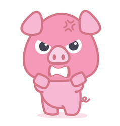 Angry pig cartoon character vector