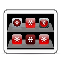 Asterisk red app icons vector