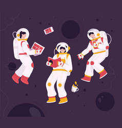Astronauts flying in zero gravity at space vector