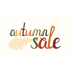 Autumn sale inscription with oak leaf vector