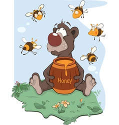 Bear and a wooden keg with honey vector image
