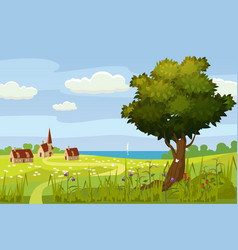 beautiful summer rural landscape farm meadow vector image