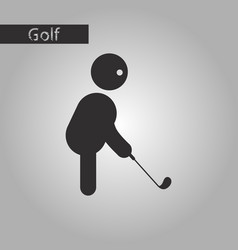 Black and white style icon stick figure golf vector