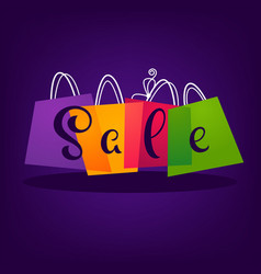 Bright sale background with shopping bags and vector