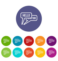 bubble speeches with greetings inside set icons vector image