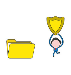 Businessman character running and carrying guard vector
