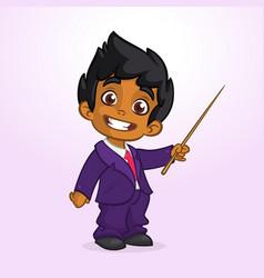 Cartoon funny indian boy presenting vector