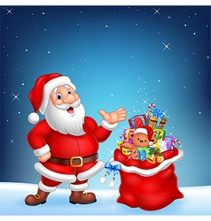 Cartoon funny Santa with sack on a night sky vector