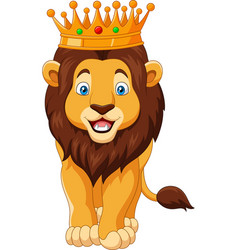 Cartoon lion wearing a crown vector