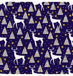 Christmas and New Year seamless pattern with deer vector image