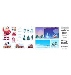 christmas greeting kit holiday postcard vector image