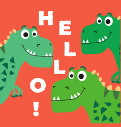 cute dinosaur cartoon drawn for tee print vector image