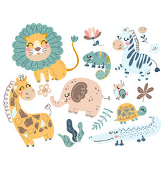 cute wild safari african animals vector image