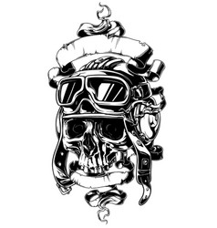 Detailed human skull in helmet with ribbons tattoo vector