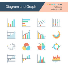 diagram and graph icons flat design collection 56 vector image
