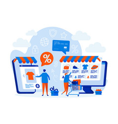 E-commerce web design concept with people vector