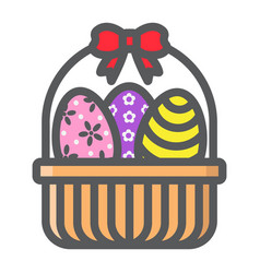 Easter eggs in basket filled outline icon vector